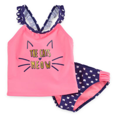 Breaking Waves Cats Meow Tankini Set - Toddler and Preschool Girls