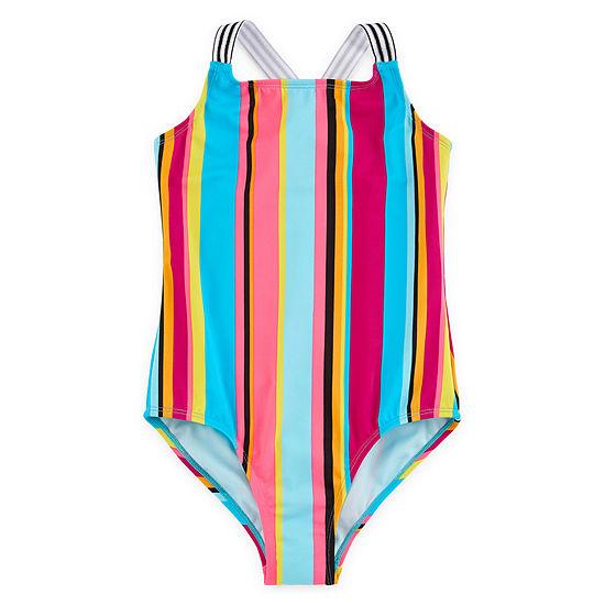 Breaking Waves Striped One Piece Swimsuit Big Kid Girls