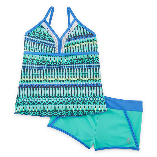 Free Country Girls Striped Tankini Set - Big Kid
