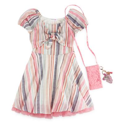 Knit Works Short Sleeve Puffed Sleeve Skater Dress - Big Kid Girls