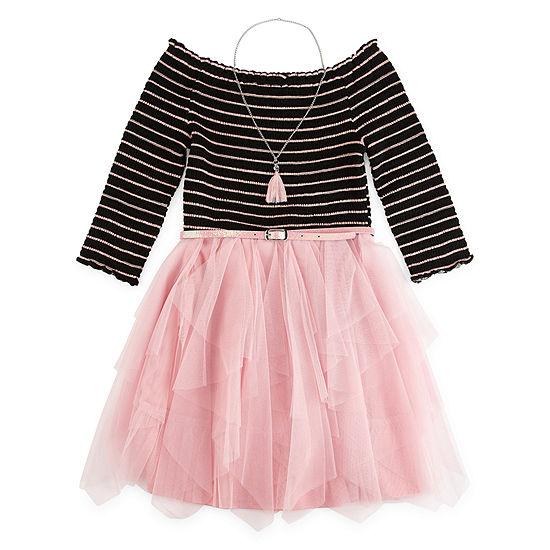 Knit Works 3/4 Sleeve Tutu Dress - Preschool / Big Kid Girls