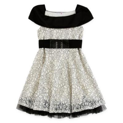 Knit Works Belted Short Sleeve Skater Dress - Big Kid Girls