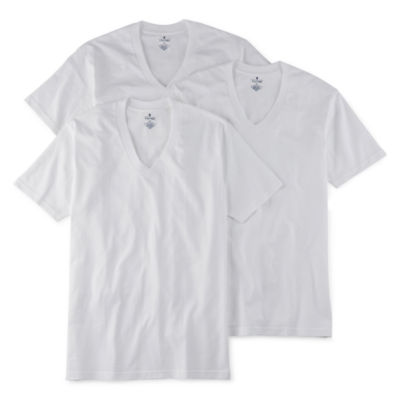 stafford® 4 pk heavyweight v neck t shirts jcpenney