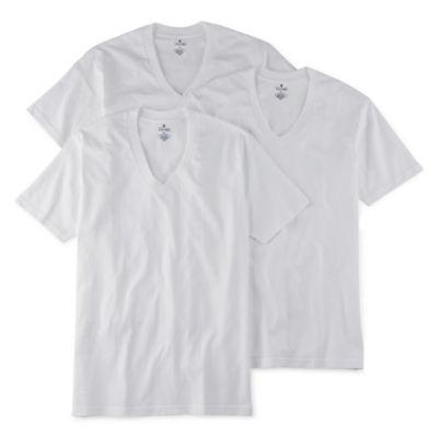 Stafford® 4-pk. Heavyweight V-Neck T-Shirts - Big & Tall