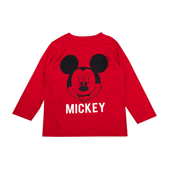 Disney Boys Crew Neck Long Sleeve Mickey Mouse Graphic T-Shirt-Toddler