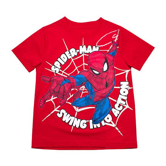 Boys Crew Neck Short Sleeve Spiderman T-Shirt-Toddler