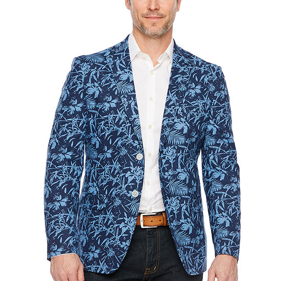 IZOD Mens Blue Palm Classic Fit Sport Coat