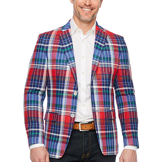 IZOD Mens Red and Blue Plaid Classic Fit Sport Coat