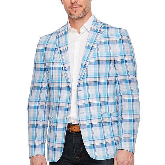 IZOD Mens Blue and Pink Plaid Classic Fit Sport Coat