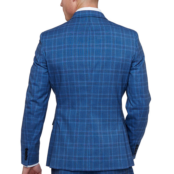 JF J.Ferrar Blue Check Checked Slim Fit Stretch Suit Jacket