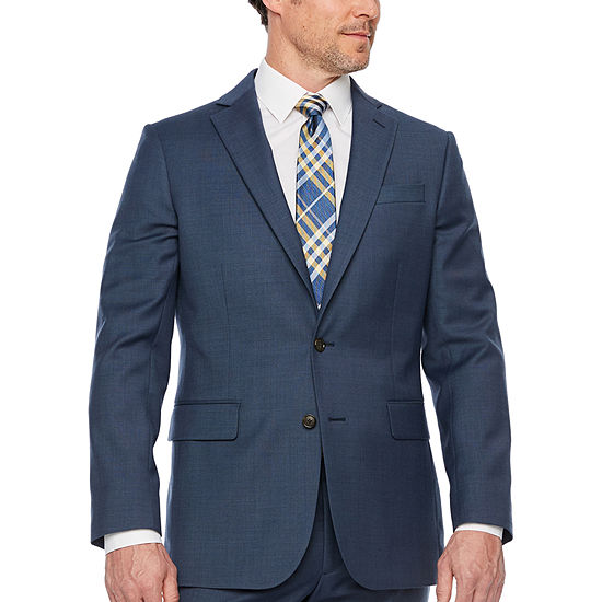 Stafford Travel Slate Blue Texture Classic Fit Stretch Suit Jacket