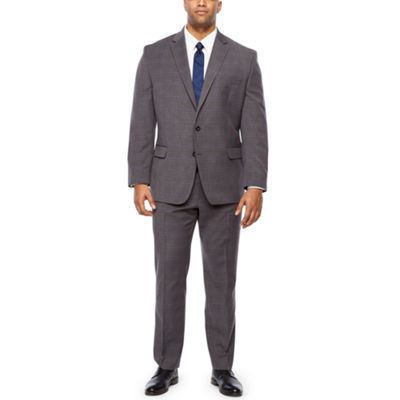 Shaquille O'Neal XLG Gray Plaid Big and Tall Suit Separates