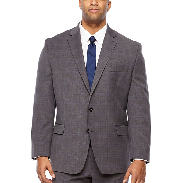 Shaquille O'Neal XLG Plaid Classic Fit Suit Jacket-Big and Tall