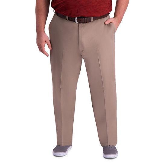 Haggar Mens Premium Comfort Khaki Classic Fit Flat Front Big Tall Pant