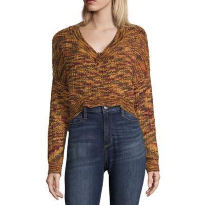 Say What Womens V Neck Long Sleeve Sweater- Juniors
