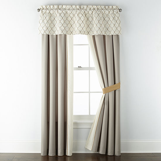 JCPenney Home Carissa Light-Filtering Rod-Pocket Set of 2 Curtain Panel