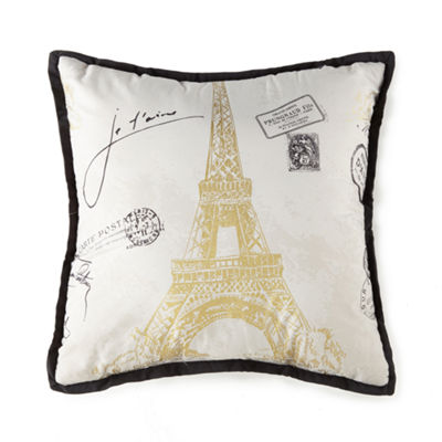 Home Expressions Paris Gold Square Throw Pillow