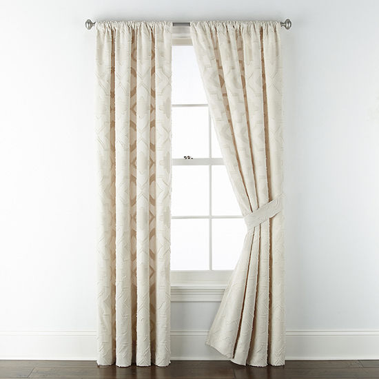 JCPenney Home Riley Light-Filtering Rod-Pocket Set of 2 Curtain Panel