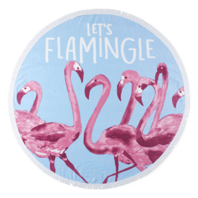 Outdoor Oasis Round Flamingle Durable Beach Towel