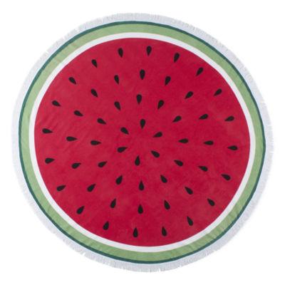 Outdoor Oasis Round Watermelon Durable Beach Towel