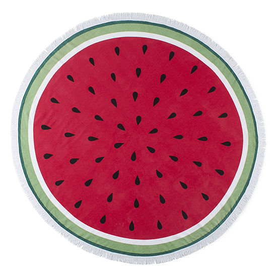 Outdoor Oasis Round Watermelon Durable Beach Towel