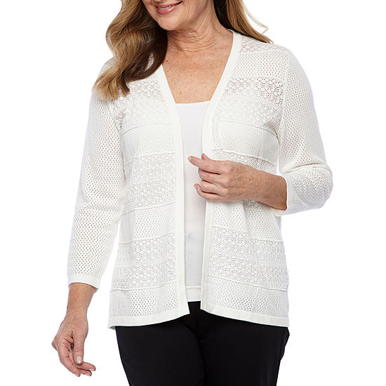 Alfred Dunner Finishing Touch Womens 3/4 Sleeve Open Front Cardigan