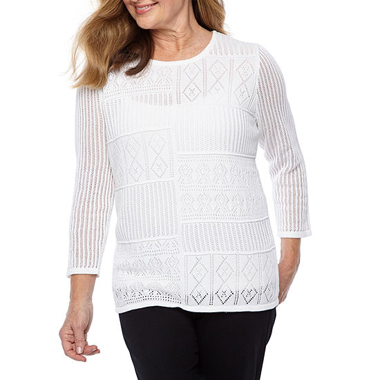 Alfred Dunner Womens Crew Neck 3/4 Sleeve Pullover Sweater