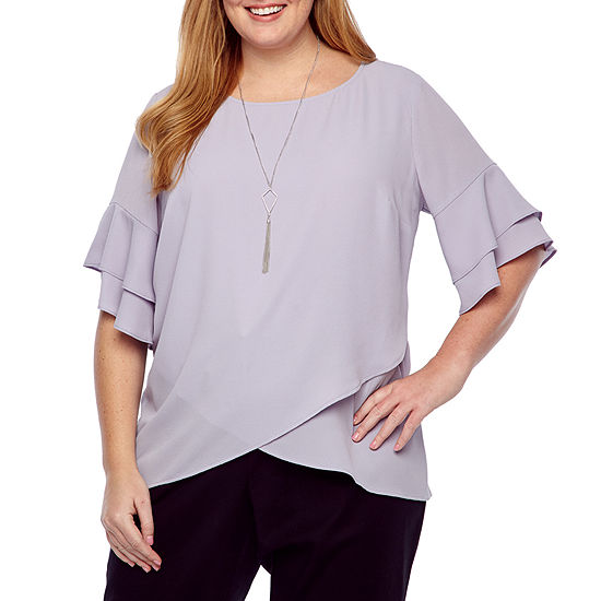 Alyx Flutter Sleeve Tulip Front Top With Necklace Plus