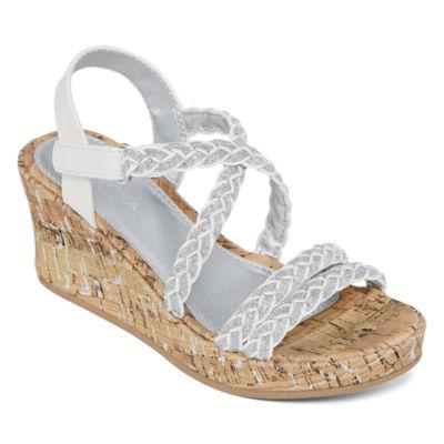 Arizona Little Kid/Big Kid Girls Jersey Wedge Sandals
