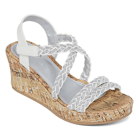 Arizona Little Kid/Big Kid Girls Jersey Wedge Sandals