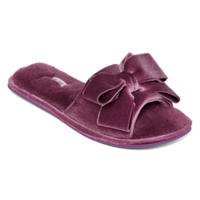 Mixit Velour Bow Slip-On Slippers