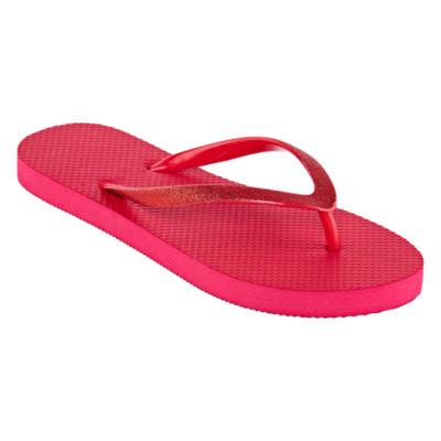 Mixit Womens Solid Glitter Zori Flip-Flops