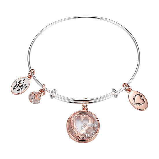 Footnotes Mother Daughter Double Heart Pure Silver Over Brass Round Bangle Bracelet