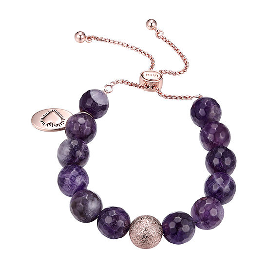 Footnotes Amethyst Stone Bead Bracelet Purple Amethyst Pure Silver Over Brass Bolo Bracelet