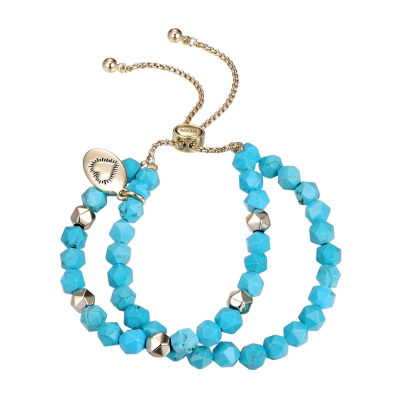 Footnotes Simulated Blue Turquoise Pure Silver Over Brass Bolo Bracelet