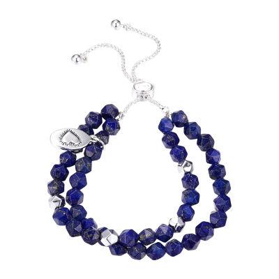 Footnotes Lapis Stone Bead Bracelet Purple Lapis Pure Silver Over Brass Bolo Bracelet