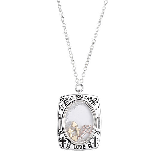 Sparkle Allure Crystal Pure Silver Over Brass 18 Inch Cable Pendant Necklace