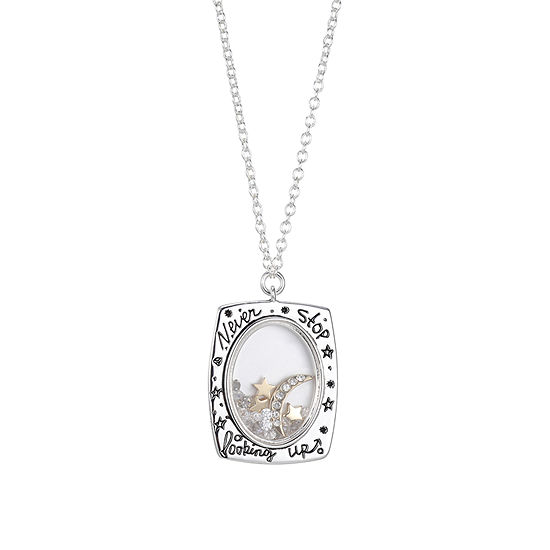 Sparkle Allure Square Dream Crystal Shaker Necklace Womens Crystal Pure Silver Over Brass Pendant Necklace