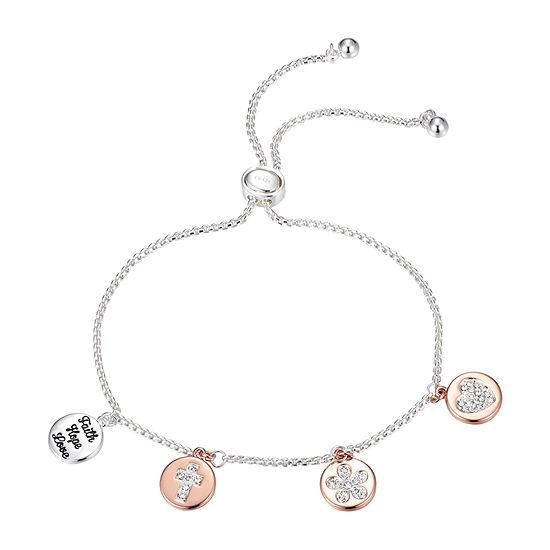Sparkle Allure Faith Hope Love Crystal 9 3/4 Inch Box Bolo Bracelet