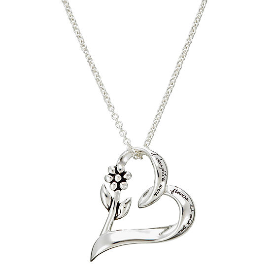 Footnotes Daughter Charm Sterling Silver 18 Inch Cable Heart Pendant Necklace