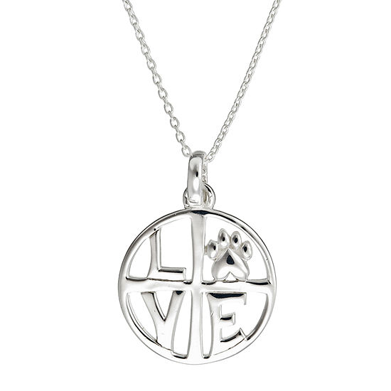 Footnotes Love Dog Sterling Silver 18 Inch Cable Pendant Necklace
