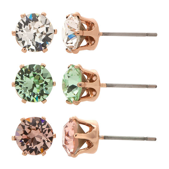 City Rocks Made With Swarovski Crystals 3 Pair Multi Color 14k Rose Gold Over Brass Earring Set