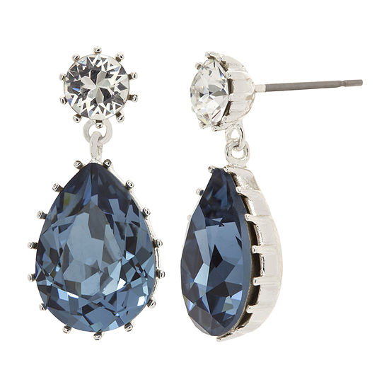 Sparkle Allure Made With Swarovski Crystals 1 Pair Blue Pure Silver Over Brass Drop Earrings
