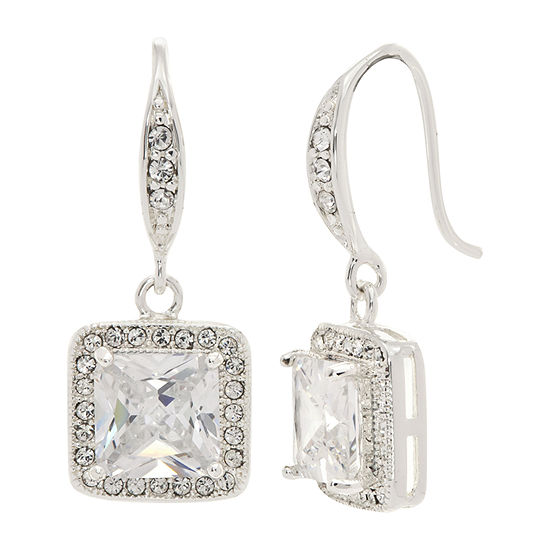 Sparkle Allure Made With Swarovski Crystals 1 Pair Crystal Pure Silver Over Brass Drop Earrings