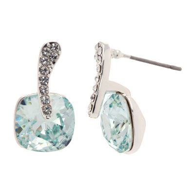 Sparkle Allure Made With Swarovski Crystals Blue Pure Silver Over Brass Drop Earrings