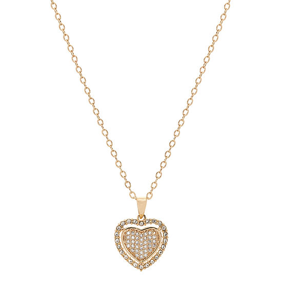 Sparkle Allure Cubic Zirconia 14K Gold Over Brass 18 Inch Cable Heart Pendant Necklace