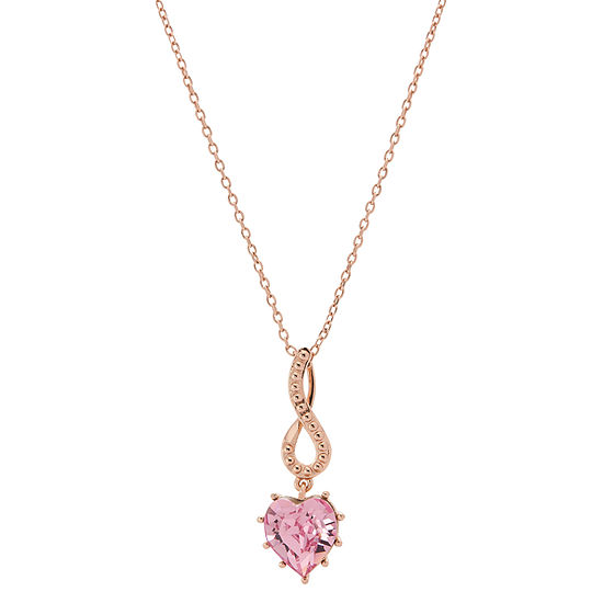 Sparkle Allure Pink Crystal 14k Rose Gold Over Brass 18 Inch Cable Heart Pendant Necklace