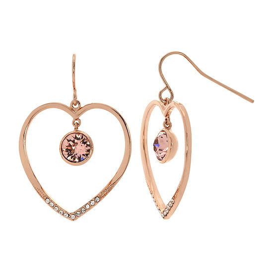 Sparkle Allure 14k Rose Gold Over Brass Pink Crystal Heart Drop Earrings Made With Swarovski Elements