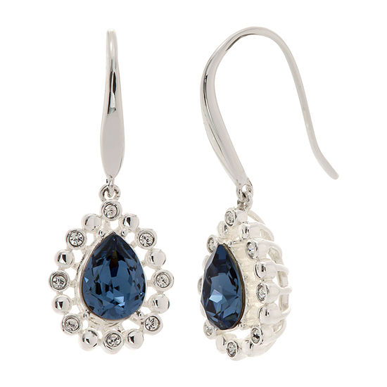 Sparkle Allure Blue Pure Silver Over Brass Drop Earrings
