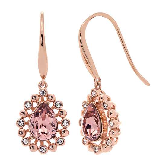Sparkle Allure Pink 14k Rose Gold Over Brass Drop Earrings